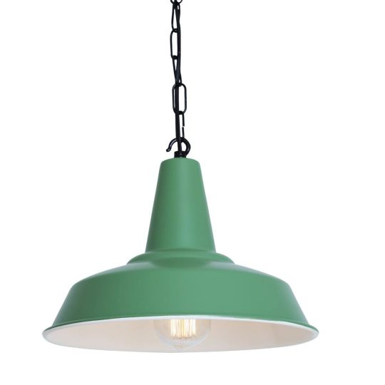 Hex Industrial Factory Pendant Light 30cm, Powder Coated Sage Green