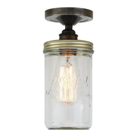 Jam Jar Vintage Retro Flush Ceiling Light, Antique Silver