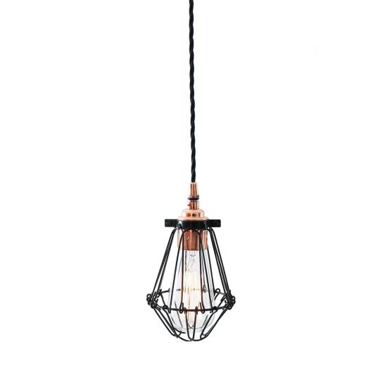 Juba Industrial Cage Pendant Light, Polished Copper