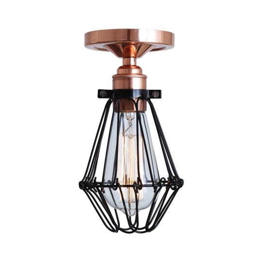 Juba Industrial Cage Bare Bulb Flush Ceiling Light, Polished Copper