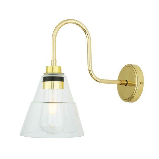 Kairi Glass Swan Neck Bathroom Wall Light IP65