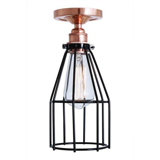 Lima Industrial Cage Bare Bulb Flush Ceiling Light, Polished Copper