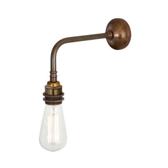 Lome Vintage Bare Bulb Wall Light, Antique Brass