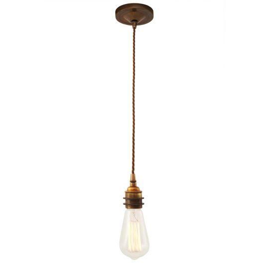 Lome Vintage Bare Bulb Pendant Light, Braided Cable, Antique Brass
