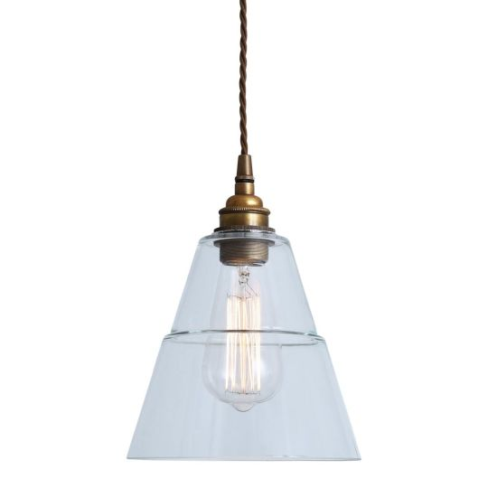 Lyx Contemporary Clear Glass Cone Pendant Light 18cm, Antique Brass