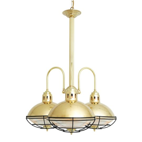 Marlow Industrial Cage Lamp Chandelier, Three-Arm