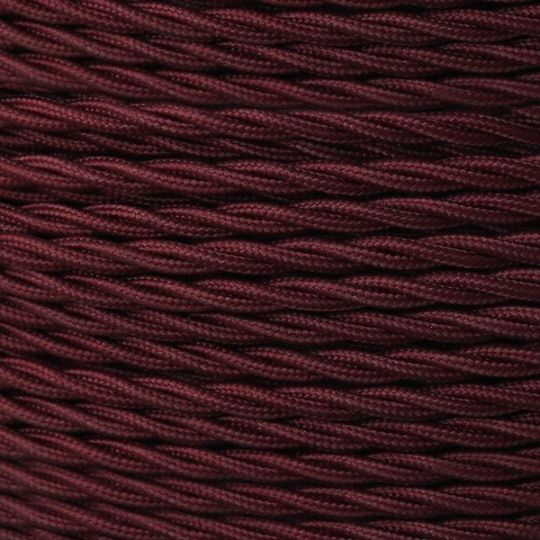 Maroon Fabric Braided Cable, 2 Core Twisted