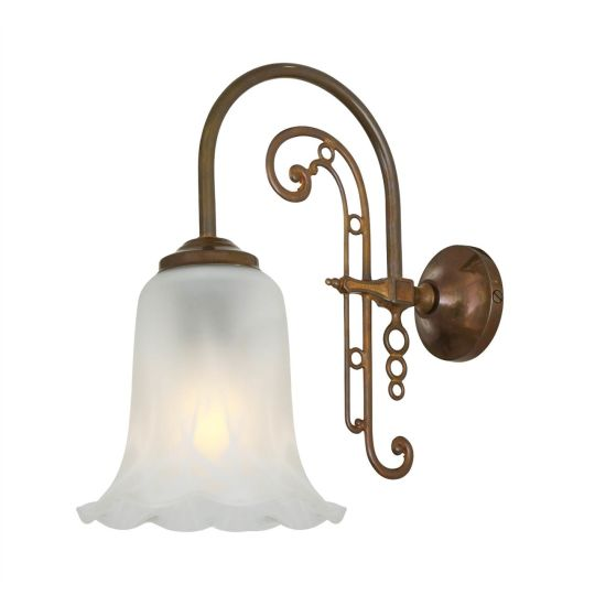 Medan Brass Wall Light with Opal Etched Glass Shade, Antique Brass