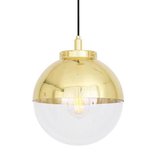 Mica Brass / Glass Dome Pendant Light 26cm IP44