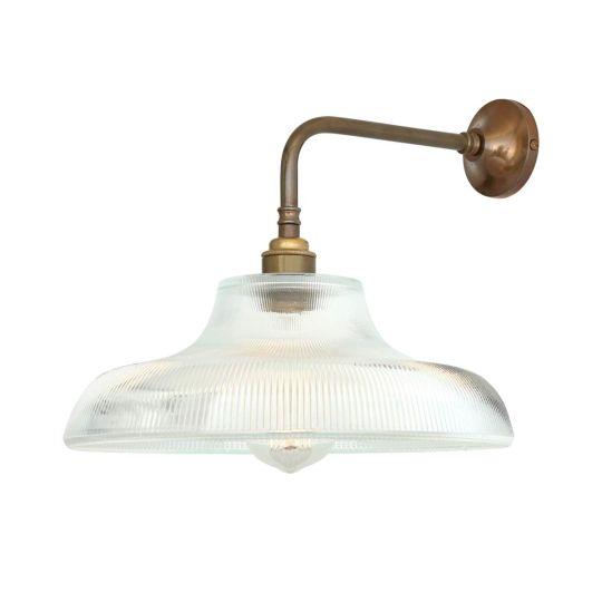 Mono Vintage Railway Glass Wall Light 30cm, Antique Brass
