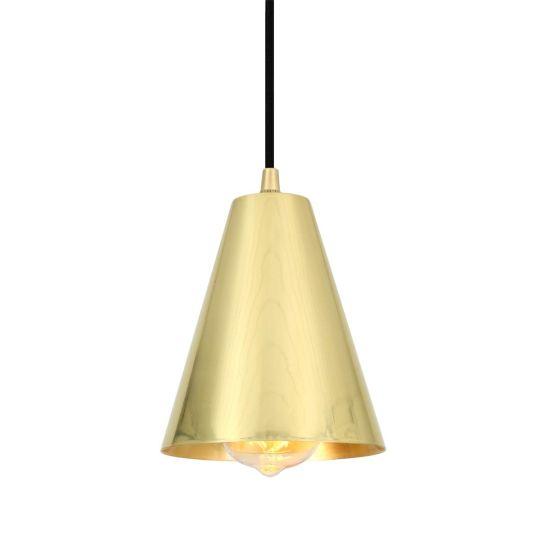 Moya Modern Brass Cone Pendant Light 14cm, Satin Brass