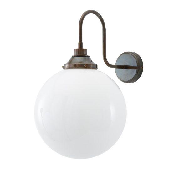 Pelagia Opal Globe Swan Neck Wall Light 30cm IP44