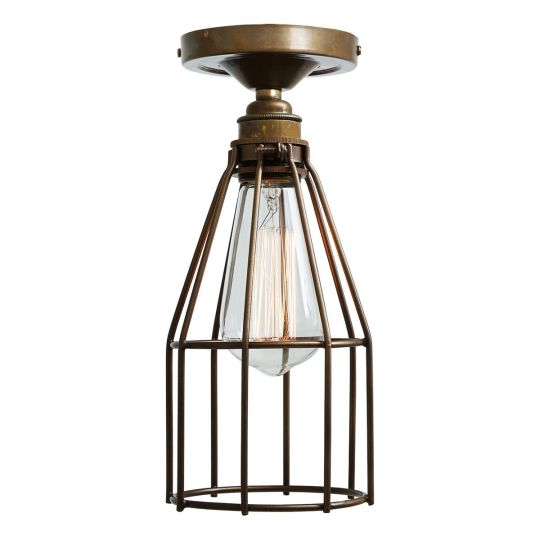 Raze Industrial Cage Bare Bulb Flush Ceiling Light, Powder Coated Bronze Cage with Antique Brass Lampholder
