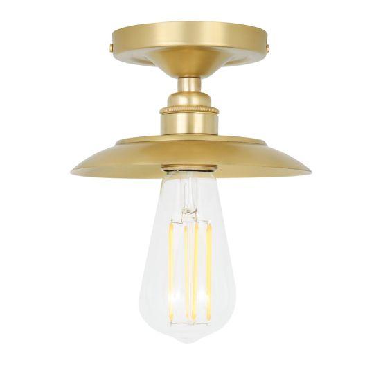 Reznor Industrial Exposed Bulb Flush Ceiling Light, Satin Brass