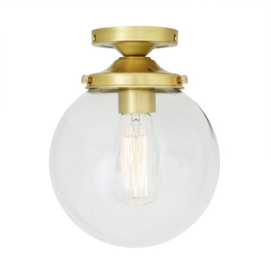 Riad Clear Glass Globe Flush Ceiling Light 20cm, Satin Brass