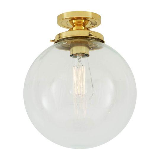 Riad Clear Glass Globe Flush Ceiling Light 25cm, Polished Brass