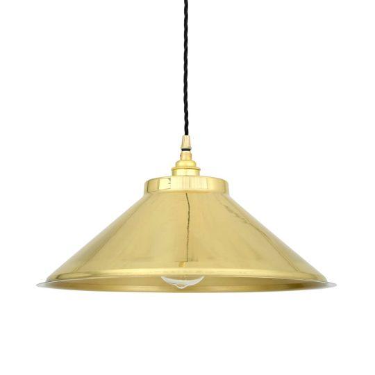 Rio Vintage Modern Brass Pendant Light 38cm, Polished Brass
