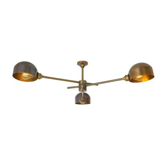 San Jose Vintage Brass Flush Chandelier, Three-Arm