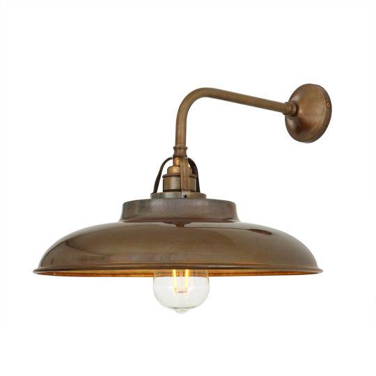 Telal Industrial Brass Factory Wall Light 32cm, Antique Brass