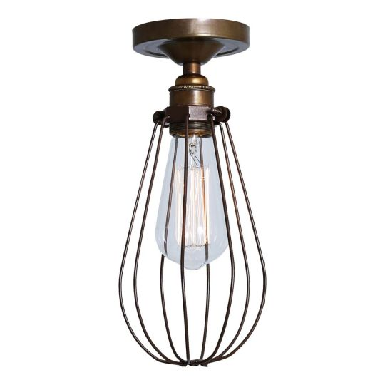 Vox Vintage Industrial Cage Flush Ceiling Light, Powder-Coated Bronze