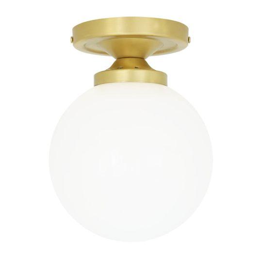Yaounde Opal Glass Globe Flush Ceiling Light 14cm, Satin Brass