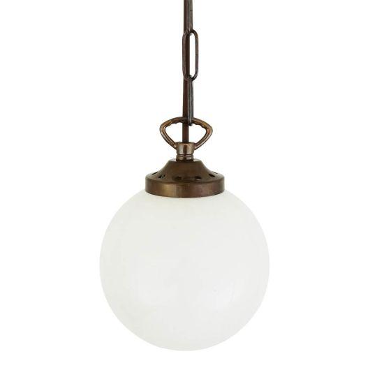 Yaounde Opal Frosted Glass Globe Pendant Light 14cm, Antique Brass