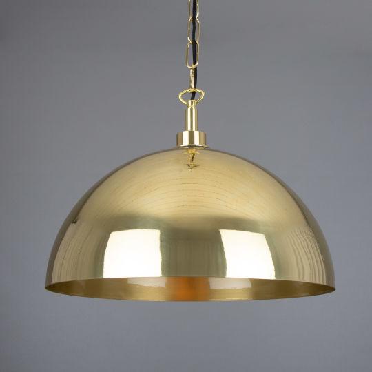 Hydra Polished Brass Dome Pendant Light 40cm IP65