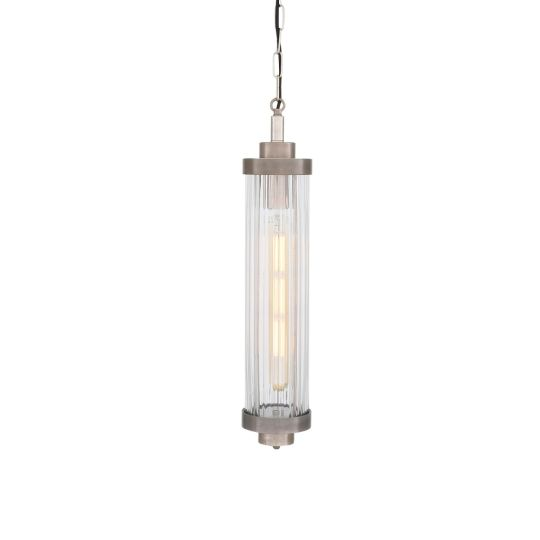 Louise Vintage Rippled Glass and Brass Bathroom Pendant IP44