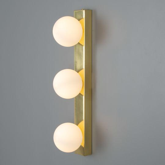 Noelani Bathroom Wall Light with Three Glass Globes IP44