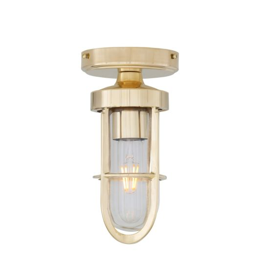 Oregon A Cage Well Glass Ceiling Light IP65, Clear Glass, Natural Brass