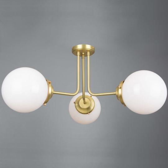 Hayes Flush Opal Glass Globe Chandelier, Three-Arm