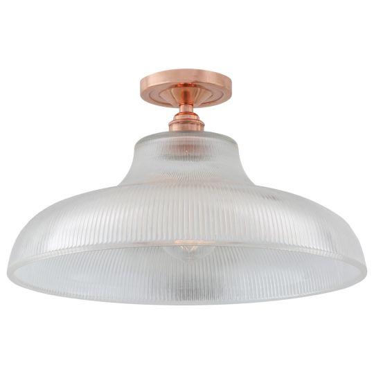 Mono Holophane Glass Flush Ceiling Light 40cm, Polished Copper
