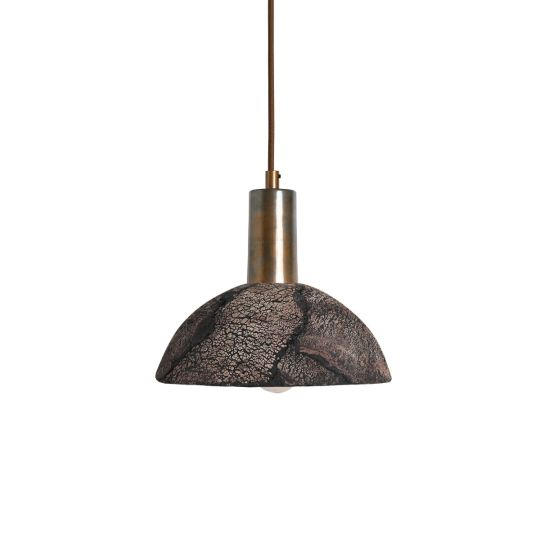 Kauri Organic Ceramic Dome Pendant Light 20cm, Black Clay