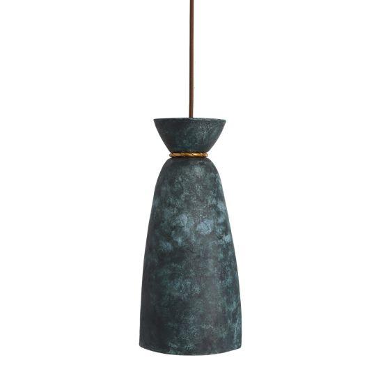 Pando Organic Ceramic Pendant Light 14cm, Blue Earth