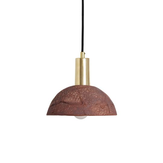 Kauri Organic Ceramic Dome Pendant Light 20cm, Red Iron