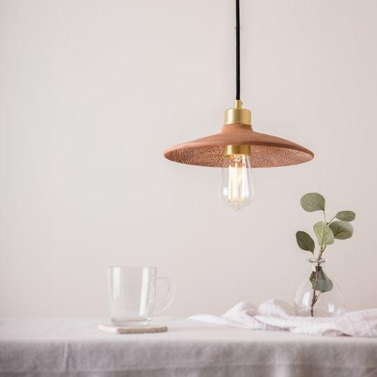 Pyrus Organic Ceramic Pendant Light 28cm, Red Iron