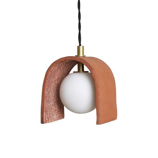 Tansy Minimalist Organic Ceramic Pendant, Red Iron