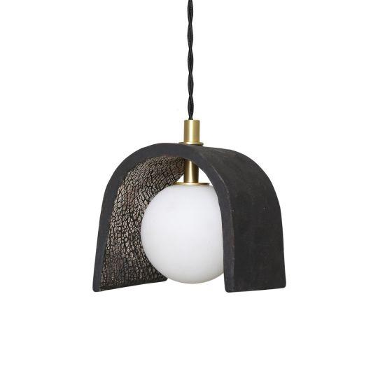 Tansy Minimalist Organic Ceramic Pendant, Black Clay