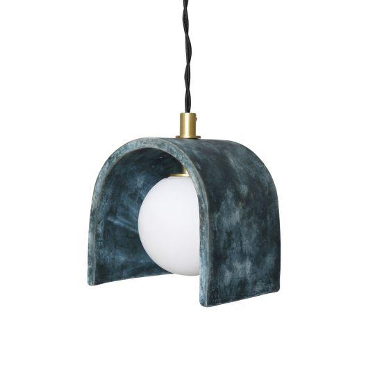 Tansy Minimalist Organic Ceramic Pendant, Blue Earth