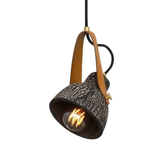 Pera Ceramic Pendant with Rescued Fire-Hose Strap, Black Clay