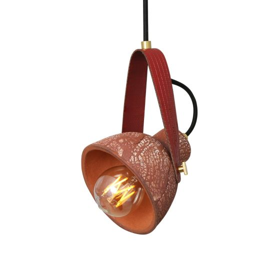 Pera Ceramic Pendant with Rescued Fire-Hose Strap, Red Iron
