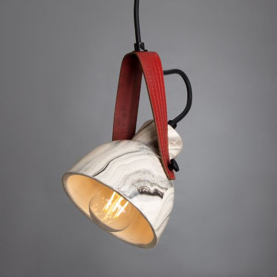 Pera Marbled Ceramic Pendant with Red Rescued Fire-Hose Strap, Powder-Coated Matte Black