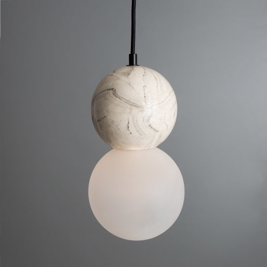 Rosa Marbled Ceramic Frosted Glass Globe Pendant Light