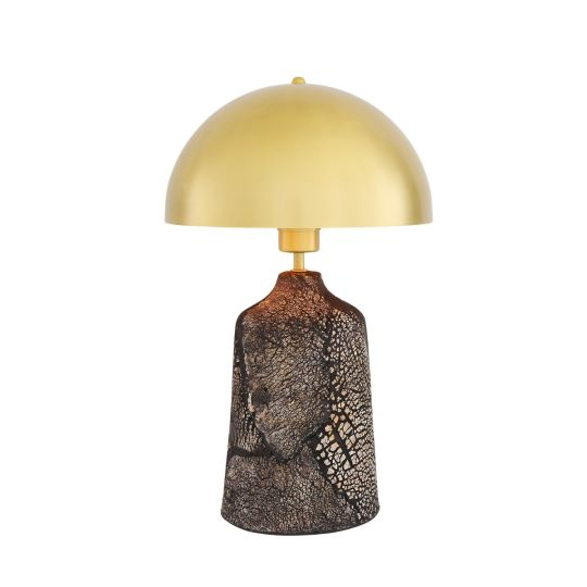 Cassia Tall Ceramic Table Lamp with Brass Dome Shade, Black Clay