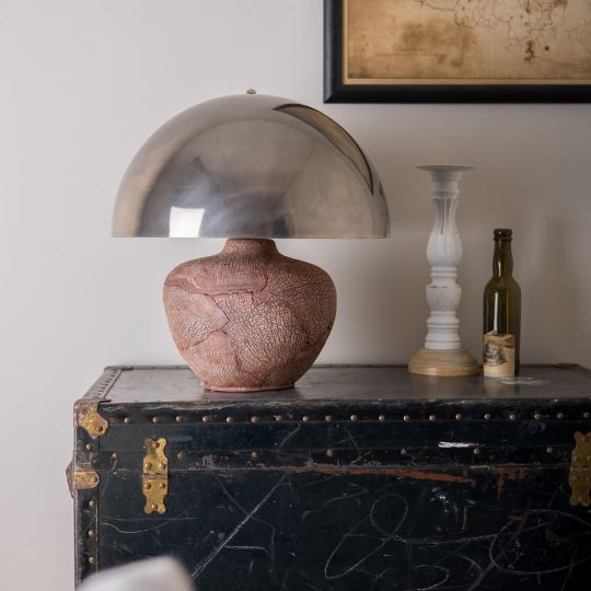 Lawson Ceramic Table Lamp with Brass Dome Shade, Red Iron