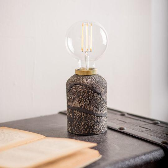 Bixa Small Ceramic Table Lamp, Black Clay