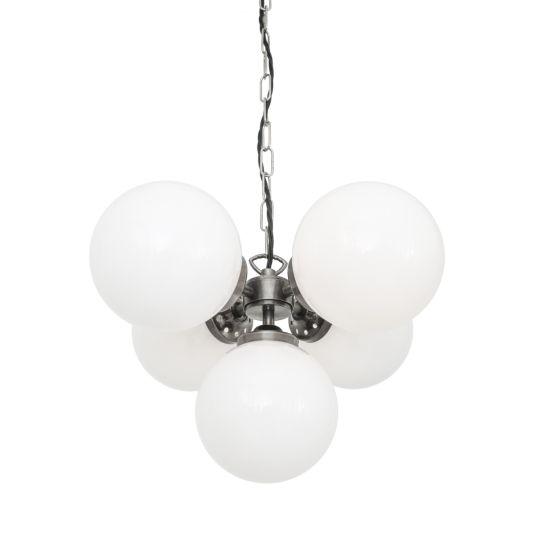 Yaounde Small Opal Globe Chandelier, Five Light
