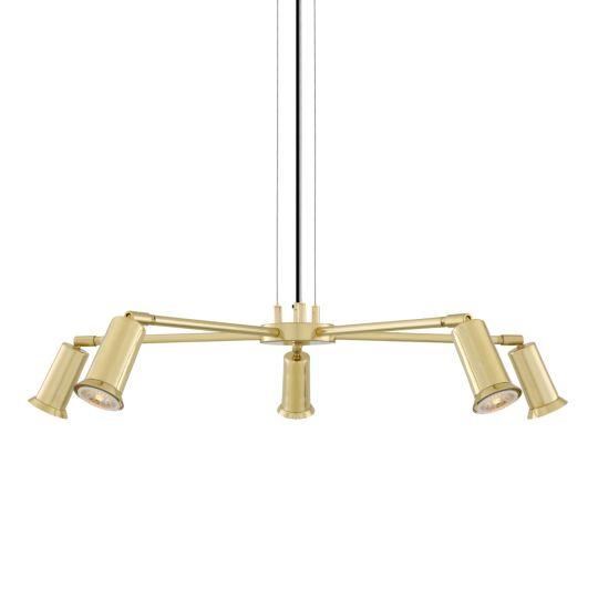 Jasper Contemporary Brass Chandelier, Five-Arm