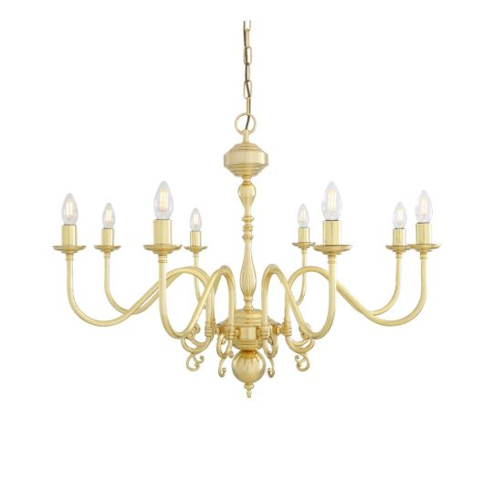 Flemish Candle-Style Brass Single Tier Chandelier, Eight-Light