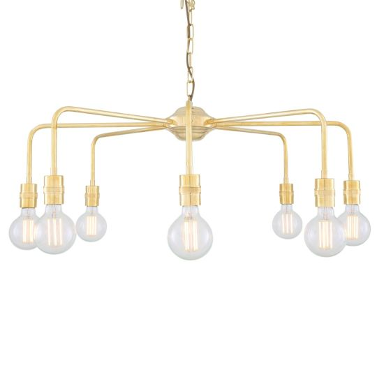 Pisa Single Tier Bare Bulb Brass Chandelier, Eight-Light